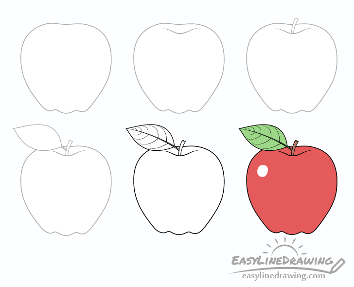 Apple drawing step by step