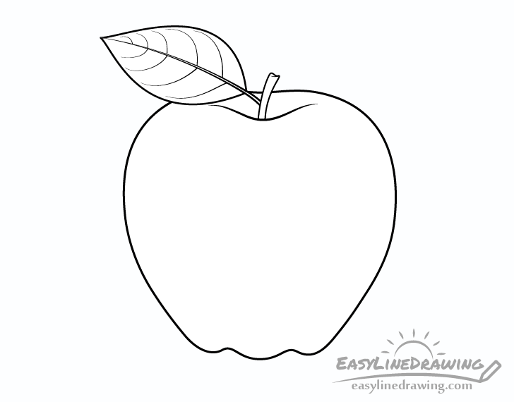 How To Draw An Apple Step By Step Easylinedrawing