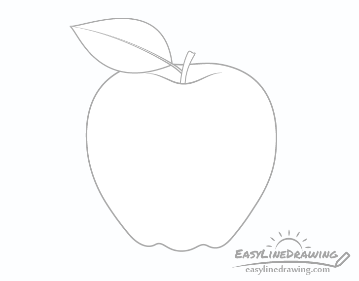 Apple with leaf drawing