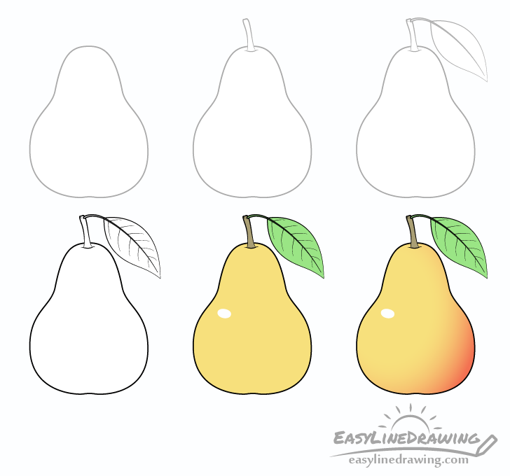 Pear drawing step by step