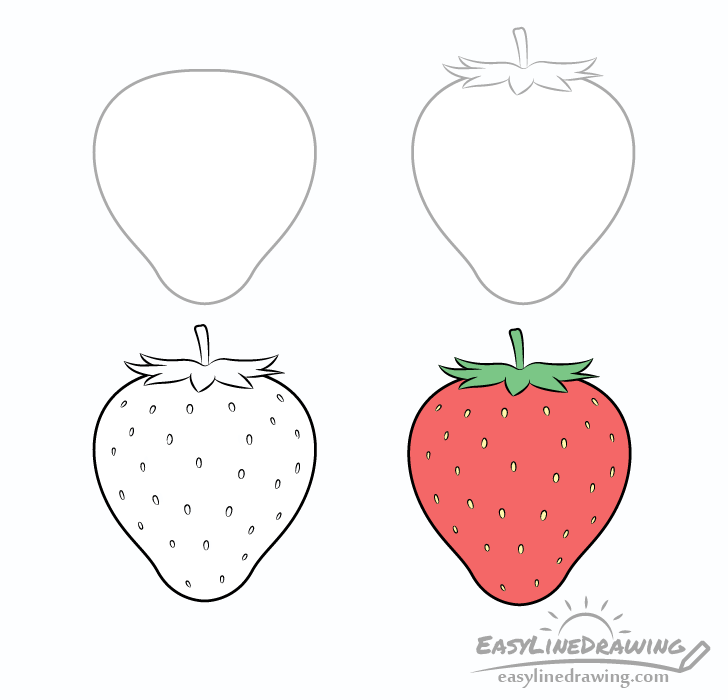 Strawberry drawing step by step