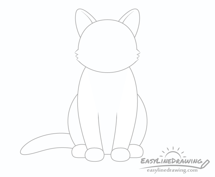 Cat ears and tail drawing