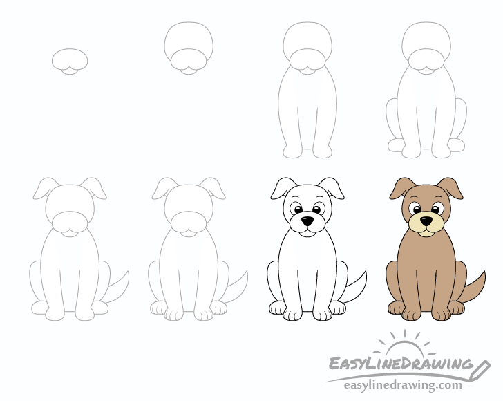 Dog drawing step by step