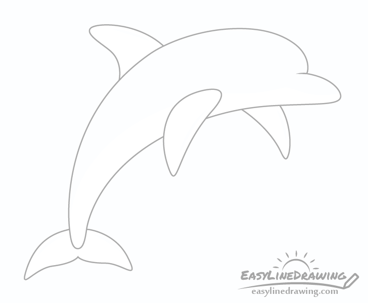 Dolphin fin and flippers drawing