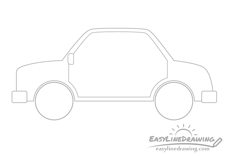Cartoon car doors outline drawing