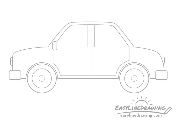 Cartoon car headlights drawing