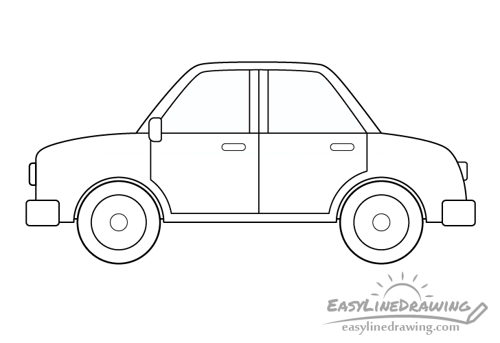 Cartoon car line drawing