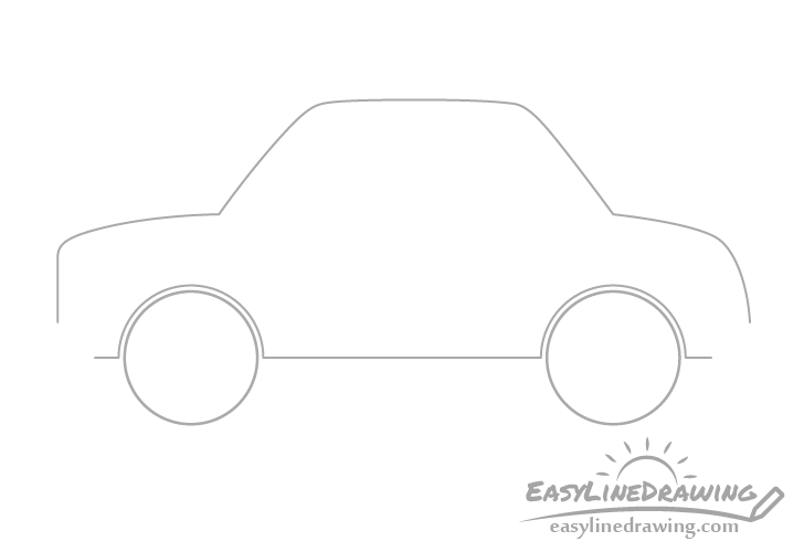 Cartoon car outline drawing