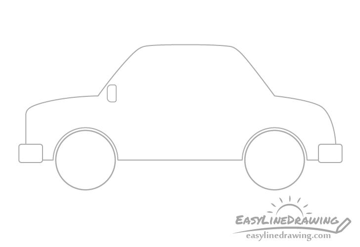 Cartoon car rear view mirror drawing