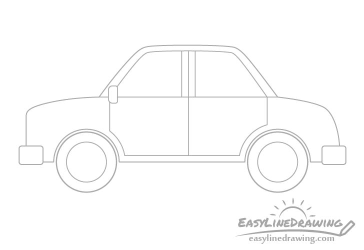 Cartoon car rims drawing