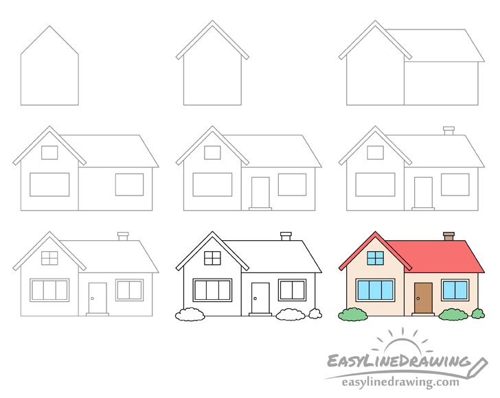 House drawing step by step