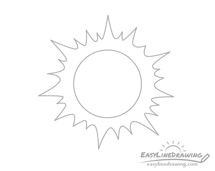 Cartoon sun line drawing