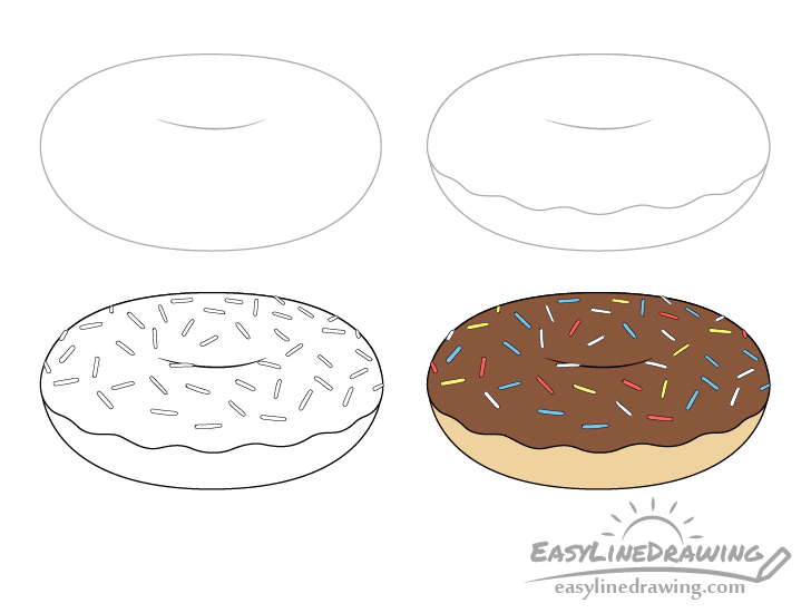 Doughnut drawing step by step