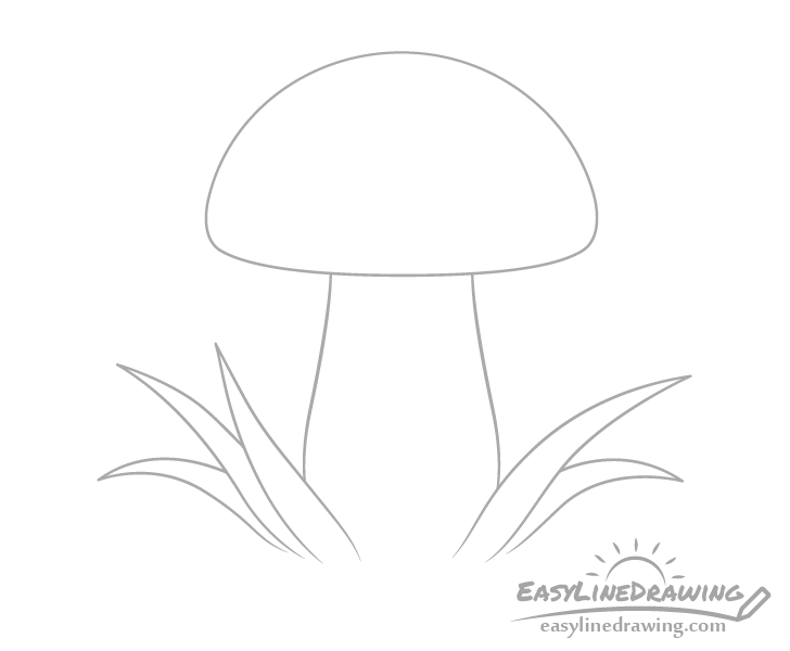 Mushroom with grass in front drawing