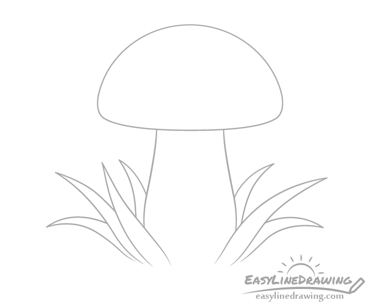 Mushroom with grass drawing