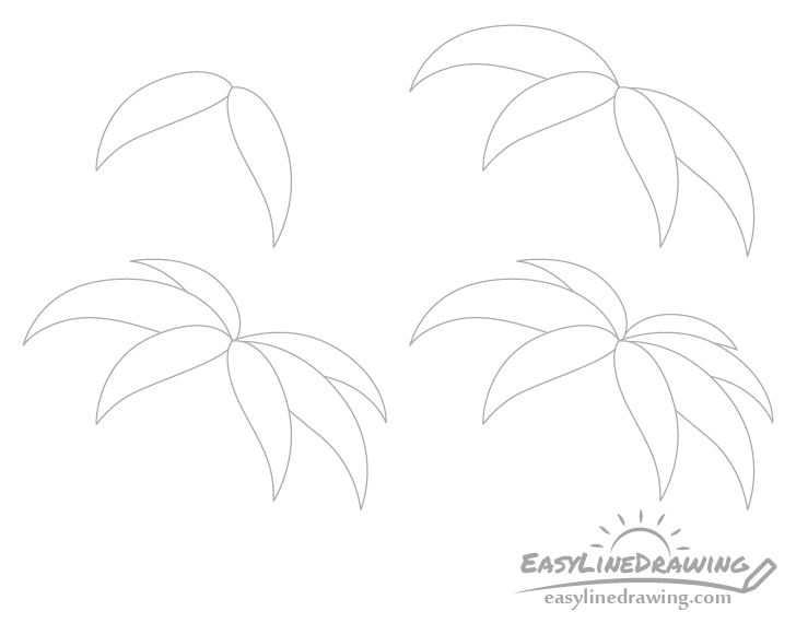 Palm leaves drawing step by step