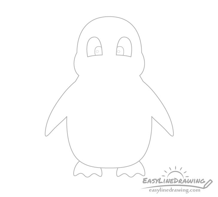 Penguin eyes drawing