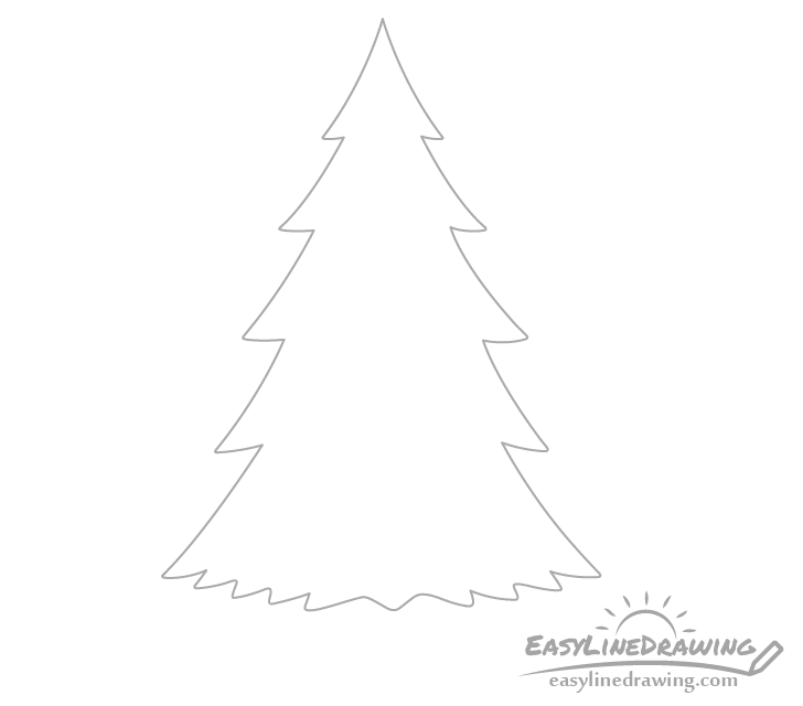 Pine tree outline drawing