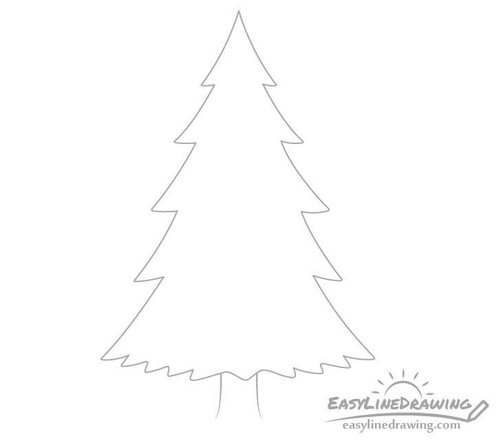 Pine tree trunk drawing