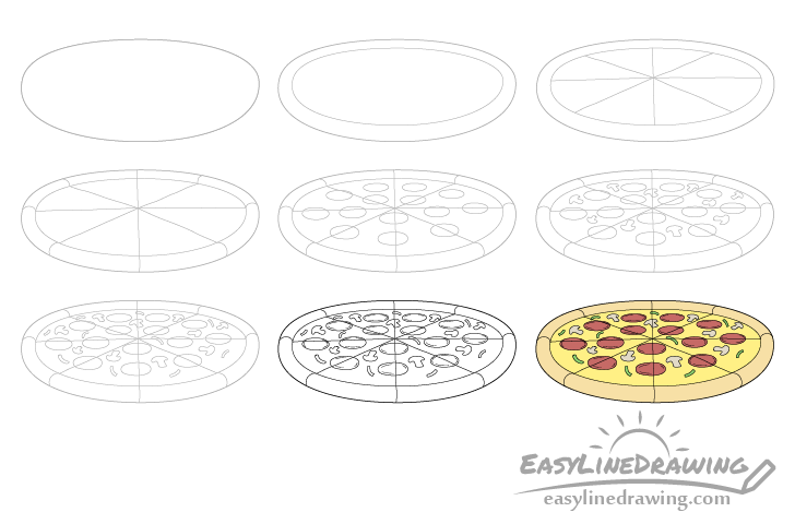 Pizza drawing step by step