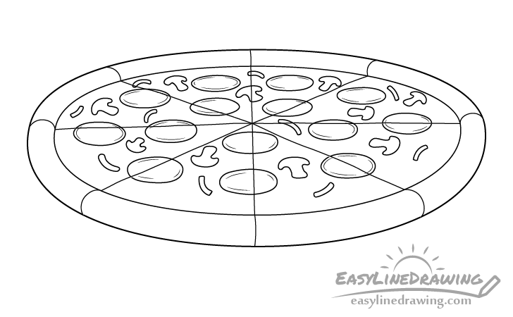 Pizza line drawing