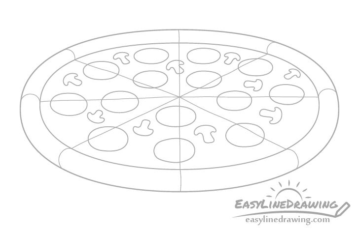 Pizza mushroom drawing