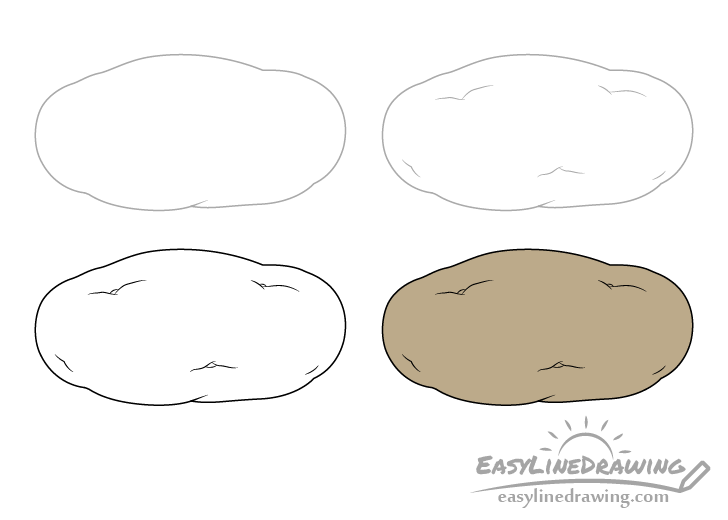Potato drawing step by step