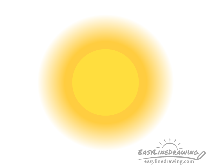 Realistic sun color drawing