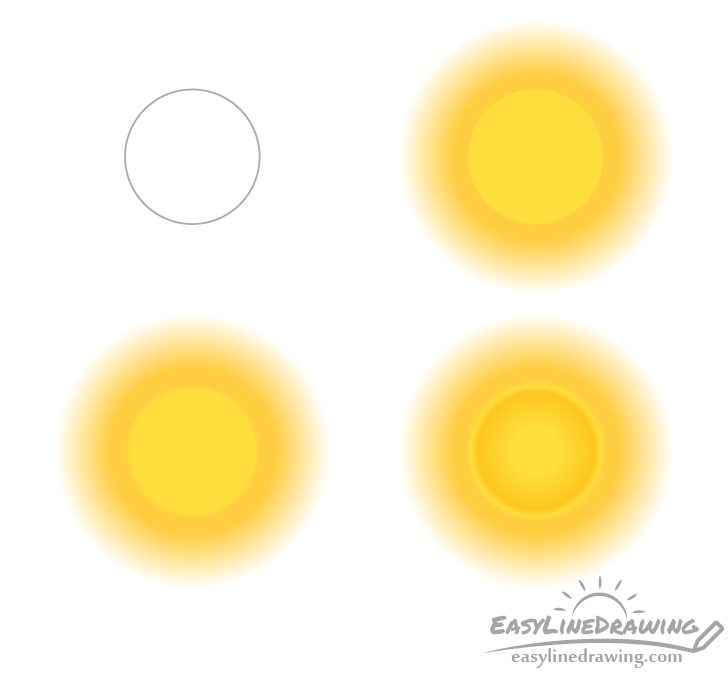 Cartoon sun drawing step by step