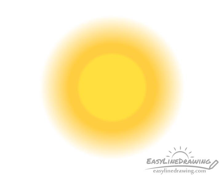 Cartoon sun gradient drawing