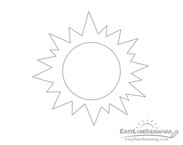 Stylized sun line drawing
