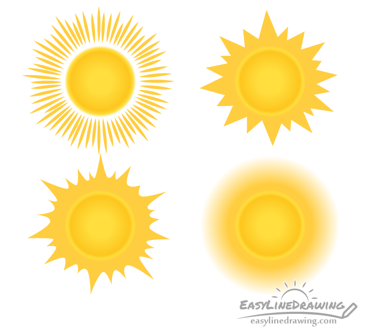 Sun drawing in different styles
