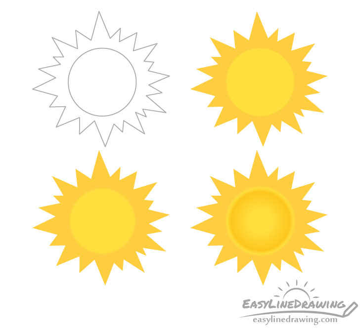 Stylized sun drawing step by step