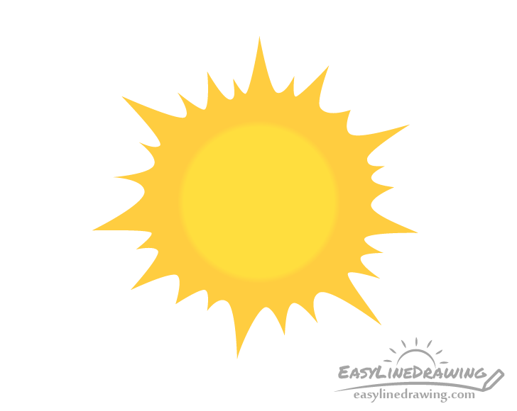 Stylized sun gradient drawing