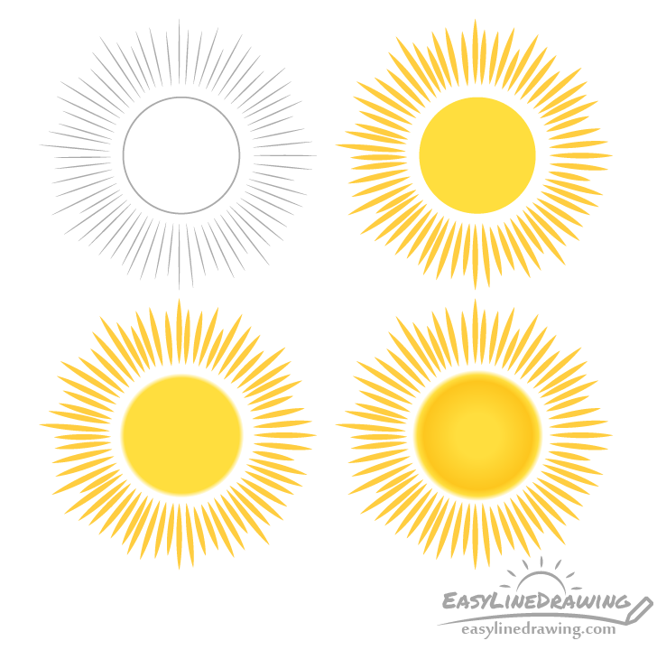 Sun drawing step by step