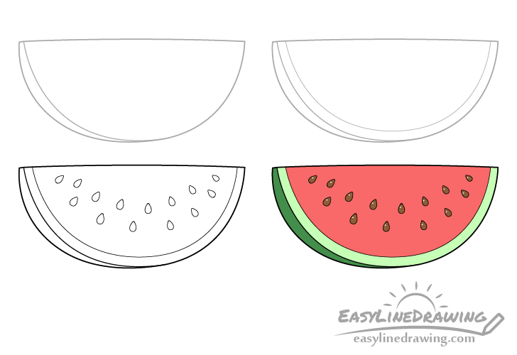 Watermelon slice drawing step by step
