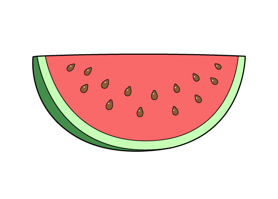 Watermelon slice drawing tutorial
