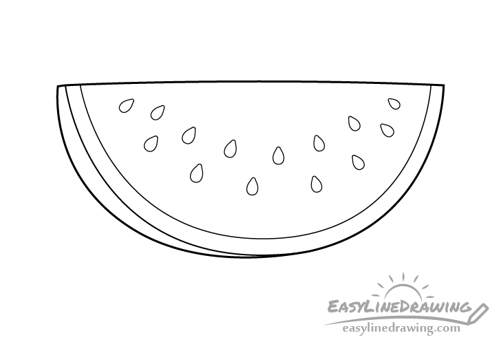 Watermelon slice line drawing