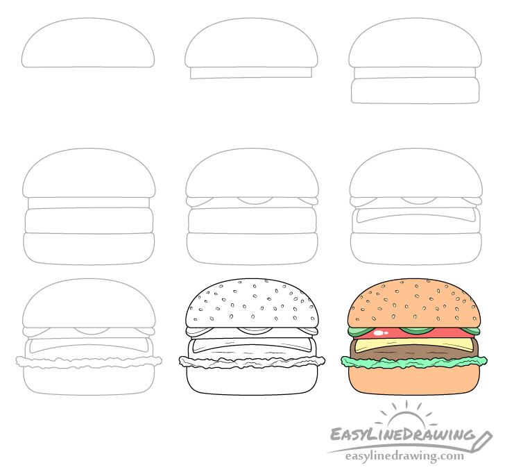 Burger drawing step by step