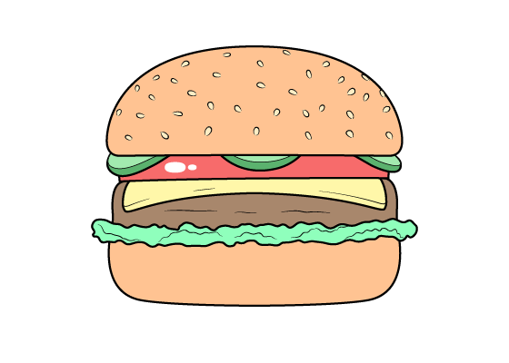 Burger drawing tutorial