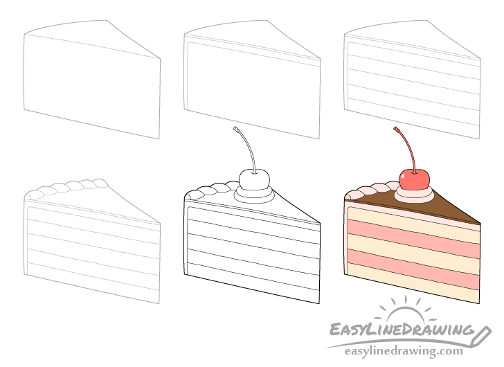 Cake slice drawing step by step