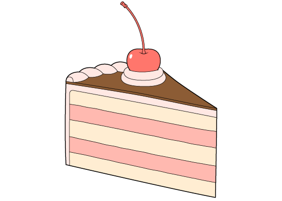 Cake slice drawing tutorial