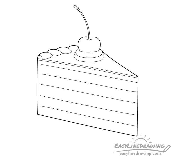Cake slice line drawing
