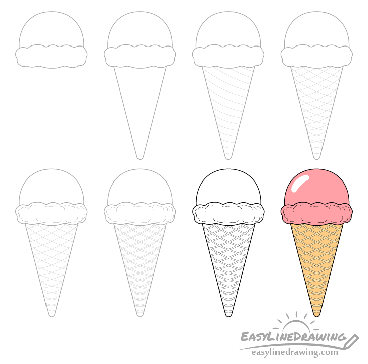 Ice cream cone drawing step by step