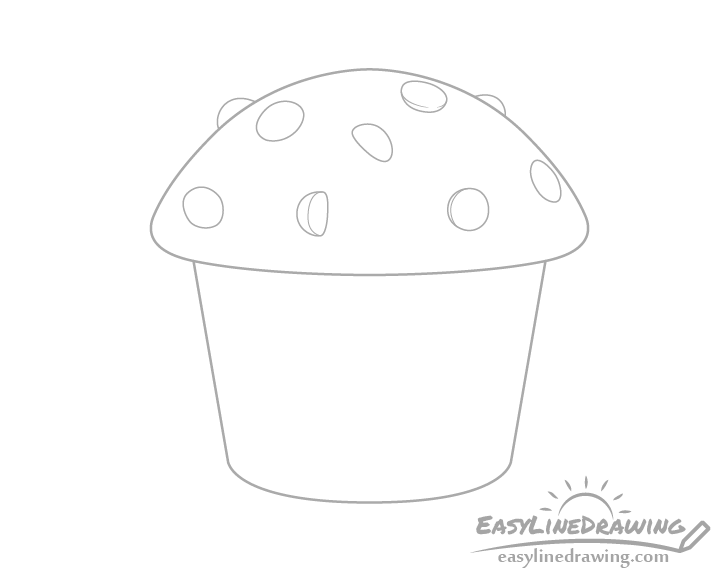 Muffin chocolate chips drawing