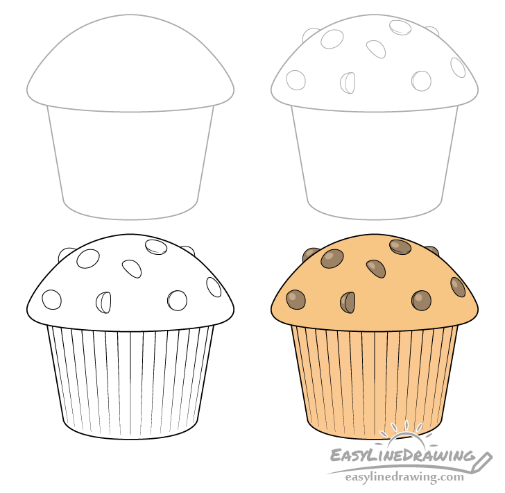 Muffin drawing step by step