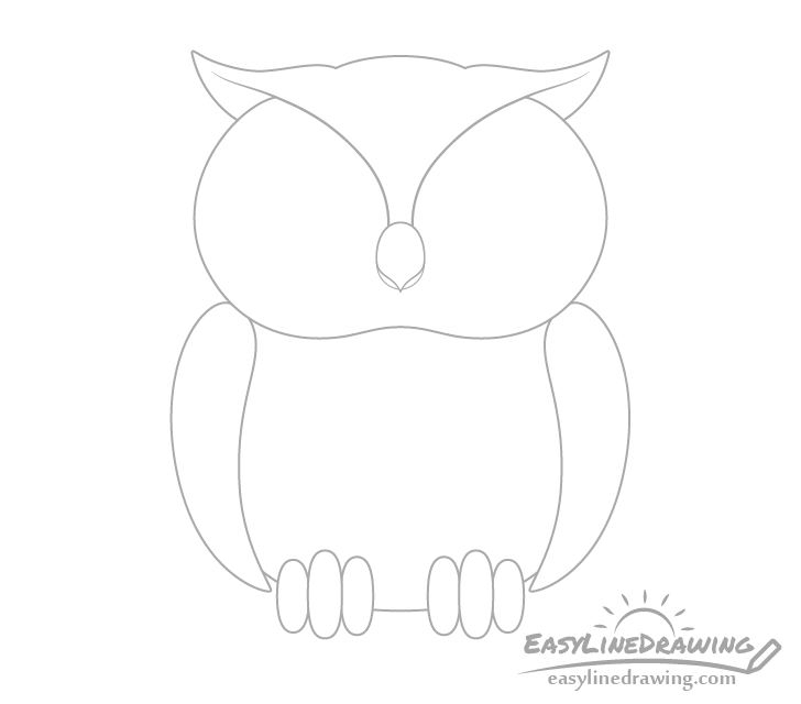 Owl face pattern drawing
