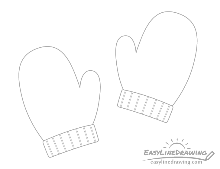 Mittens outline drawing