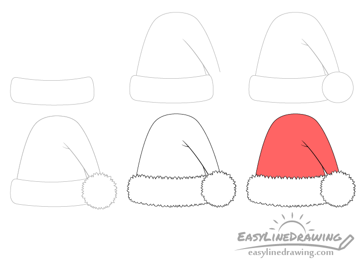 Santa hat drawing step by step