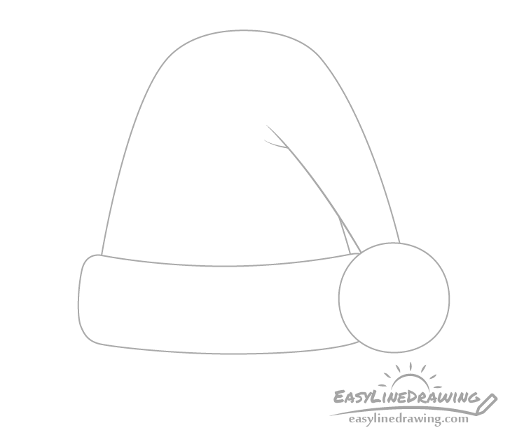 Santa hat pom pom drawing